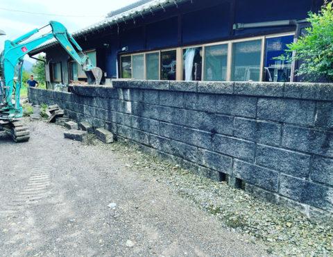 岐阜県美濃市 老朽化したブロック塀撤去工事