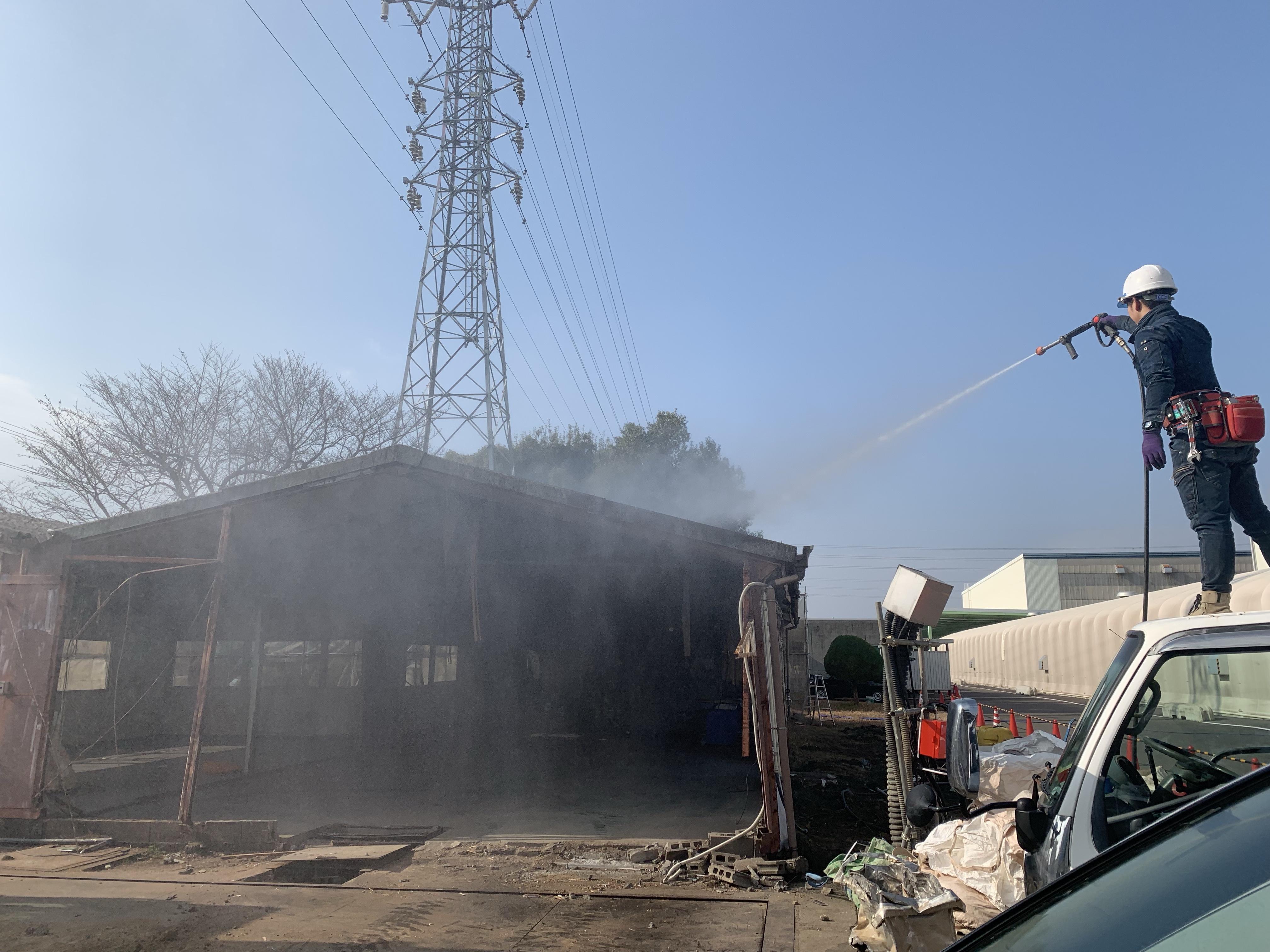 犬山市工場敷地内、解体工事