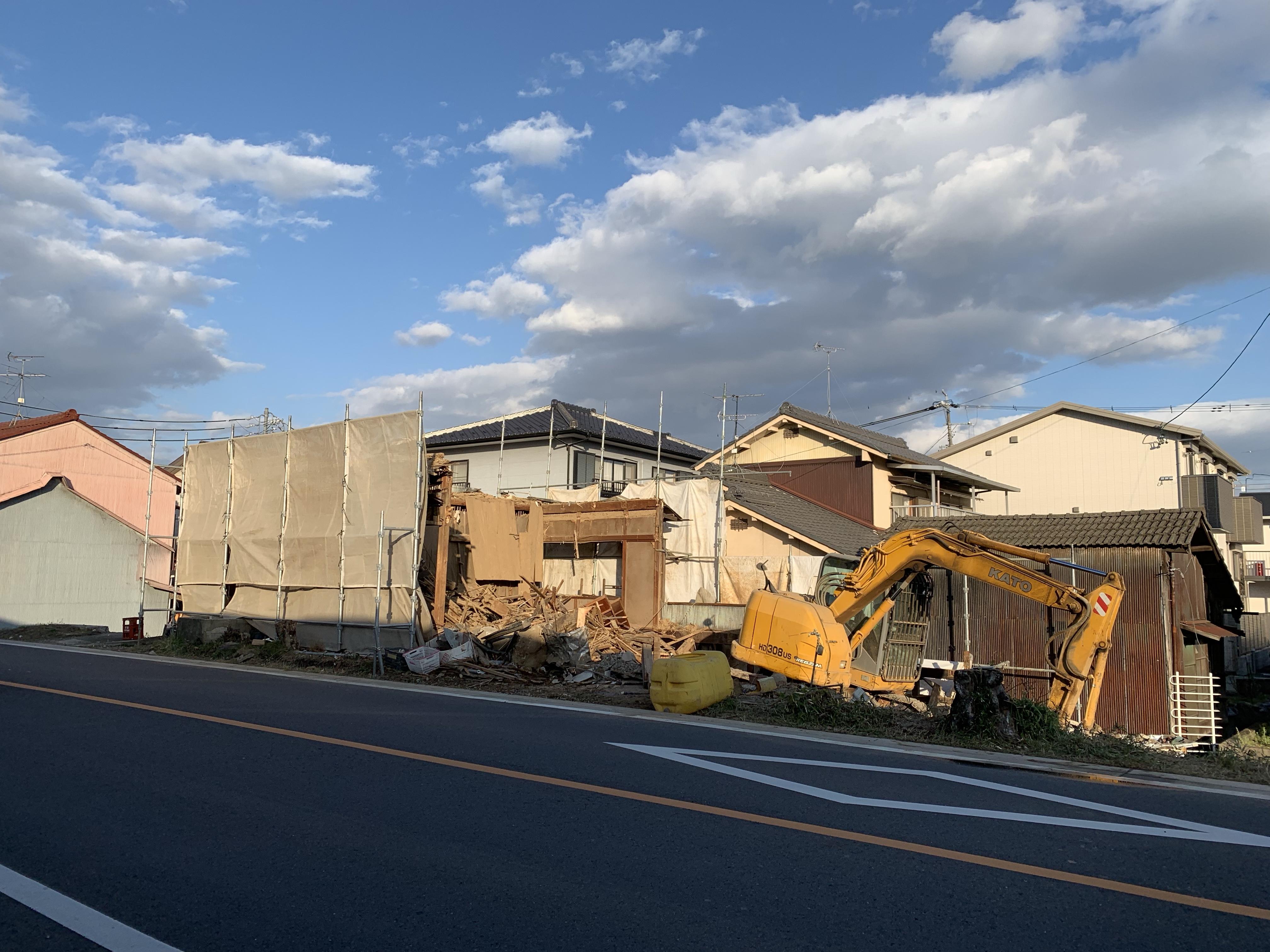犬山市、木造家屋解体
